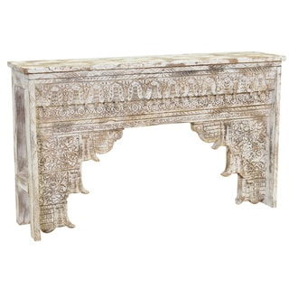 Ariel Hand Carved Antique White Wood Console by Kosas Home