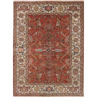 Ecarpetgallery Serapi Heritage Brown, Ivory Wool Rug (5' x 6'9)
