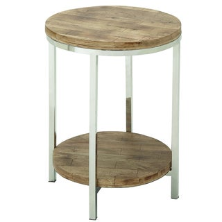 Urban Designs Stainless Steel Reclaimed Wood Round Accent Table