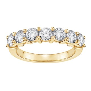 14k/18k Yellow Gold 1ct TDW Classic Shared Prong Round Diamond Wedding Band (G-H, SI1-SI2)