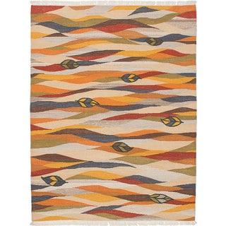 Ecarpetgallery Ankara Kilim Ivory, Orange Wool Kilim (5'10 x 7'10)
