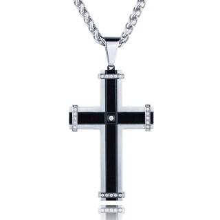 Men's Stainless Steel Cubic Zirconia Black Cross Pendant Necklace