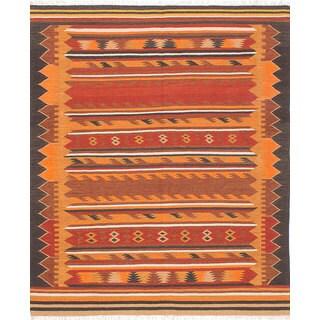 Ecarpetgallery Izmir Kilim Red Wool Kilim (6'7 x 7'11)