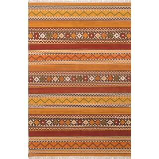 Ecarpetgallery Kashkoli Kilim Orange, Red Wool Kilim (6'4 x 9'7)