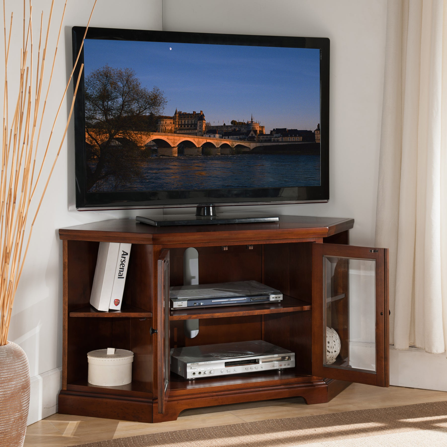 Shop Westwood Cherry 46 Inch Corner Tv Stand With Bookcases Free