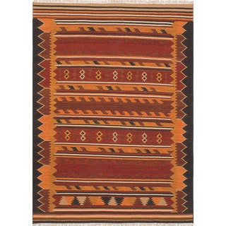 Ecarpetgallery Izmir Kilim Orange, Red Wool Kilim (6'7 x 8'10)
