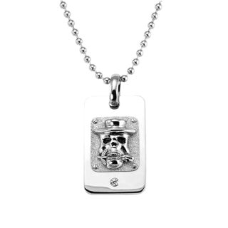 Men's 'Rose n' Skull' Stainless Steel and Cubic Zirconia Dogtag Pendant Necklace