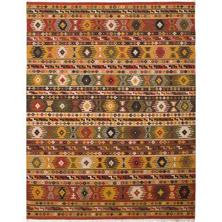 Ecarpetgallery Kashkoli Kilim Brown, Yellow Wool Kilim (8'2 x 11'6)