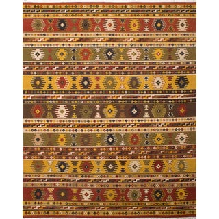 Ecarpetgallery Kashkoli Kilim Red, Yellow Wool Kilim (9'4 x 11'10)