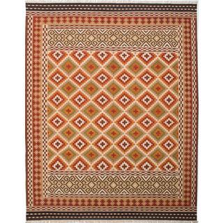 Ecarpetgallery Kashkoli Kilim Ivory, Red Wool Kilim (9'4 x 11'11)