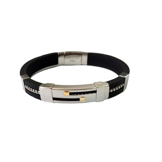 Men's Rubber and Stainless Steel Bracelet