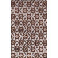 Ecarpetgallery La Seda Brown Wool & Art Silk Rug (5' x 8')