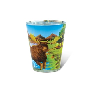 Puzzled Moose Full-print Shot Glass
