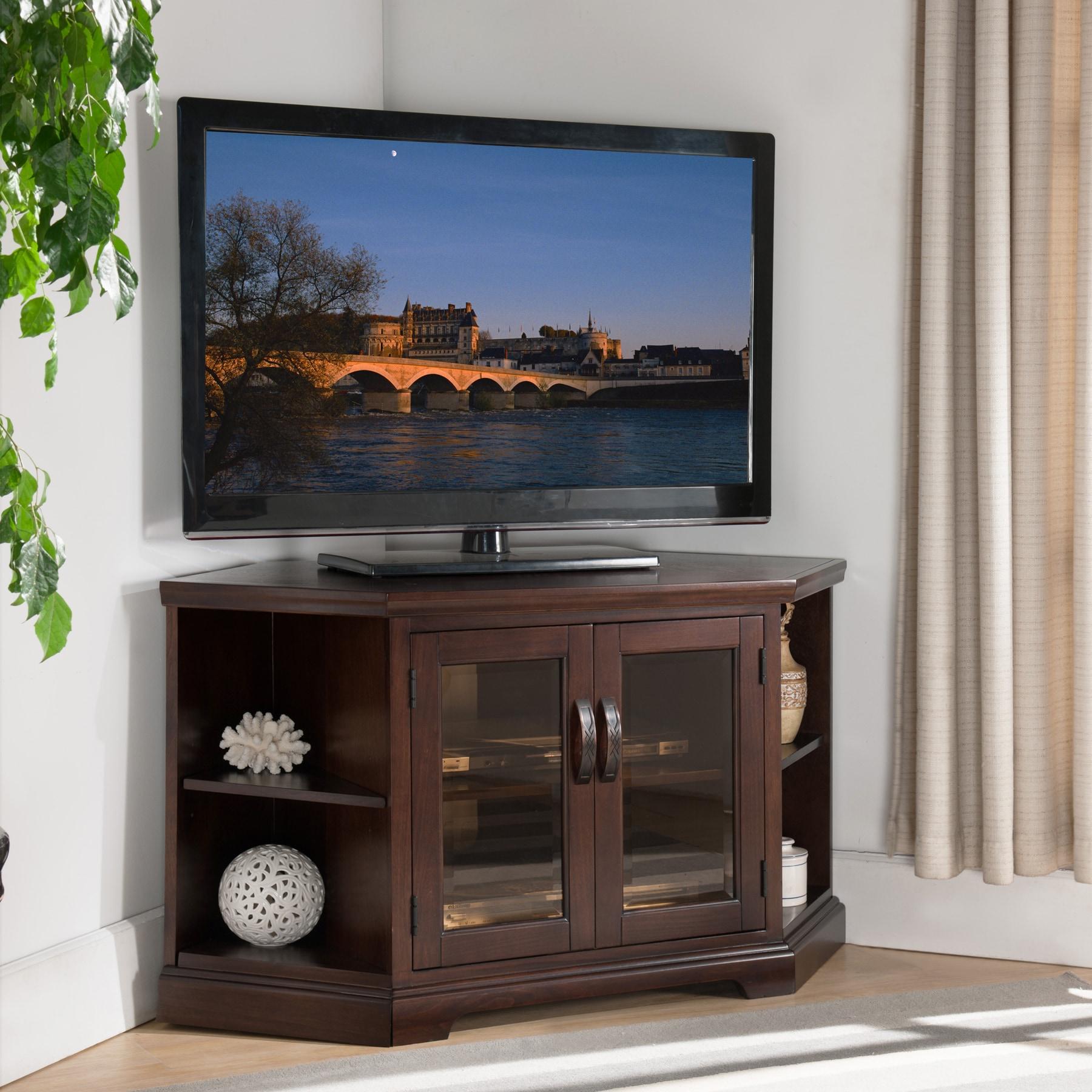 Shop Chocolate Cherry Bronze Glass 46 Inch Brown Corner Tv Stand
