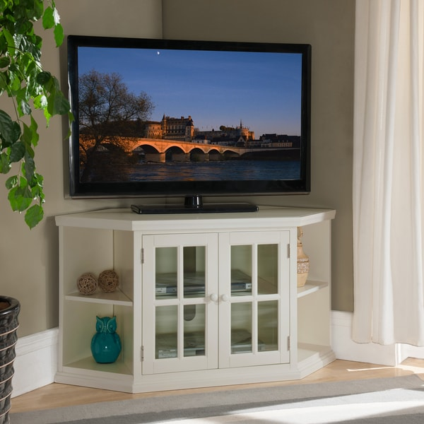 White 46 Inch Corner Tv Stand With Bookcases Free Shipping Today Overstock Com 19266445