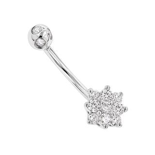 Luxurman 14k Gold 0.55-carat G-H SI1-SI2 Diamond Flower-shaped Navel Ring
