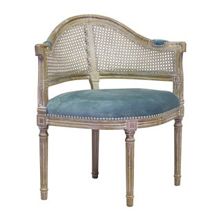 Handmade French Caned Back Blue Accent Club Chair (Thailand)