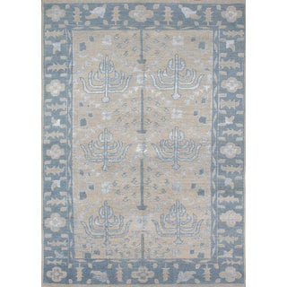ecarpetgallery La Seda Blue, Ivory Wool and Art Silk Rug (8'10 x 12'2)