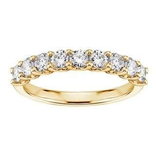 14k/18k Yellow Gold 3/4ct U-Prong 9-Stone Diamond Wedding Ring (G-H, SI1-SI2)