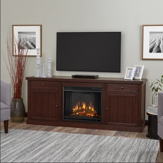 Real Flame Cassidy Chestnut Oak Finish 68.5 in. W x 19.25 in. D x 27.75 in. H Electric Entertainment Fireplace