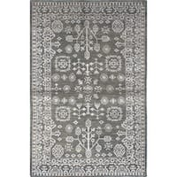 ecarpetgallery La Seda Green Wool and Art Silk Rug - 5'2 x 7'10