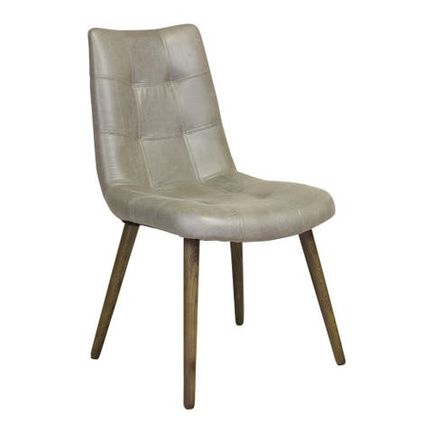 Handmade Havana Tufted Dining Chair in Grey Faux Leather (United States)