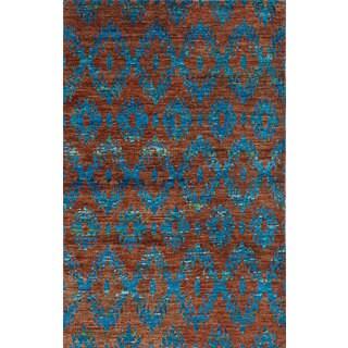 Ecarpetgallery Sari Silk Orange Sari Silk Rug (5' x 8')