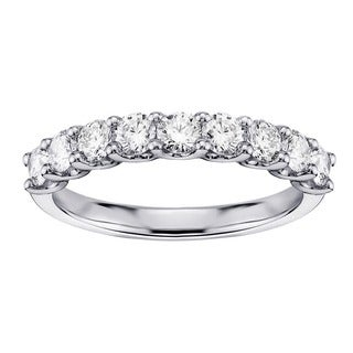 Platinum 3/4ct TDW U-Prong 9-Stone Diamond Wedding Ring (G-H, SI1-SI2)