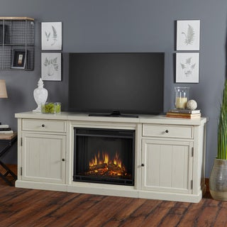 Real Flame Cassidy Electric Distressed White Entertainment Fireplace