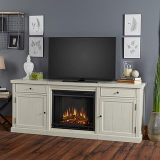 Real Flame Cassidy Electric Distressed White 68.5 in. W x 19.25 in. D x 27.75 in. H Entertainment Fireplace