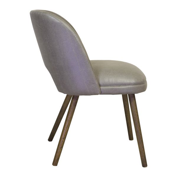Handmade Barrel Backed Mid Century Modern Grey Leather Dining Chair China Overstock 12452819