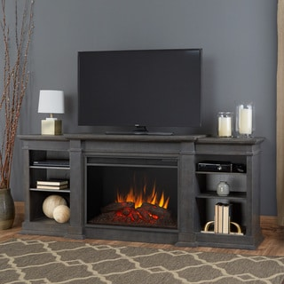 Real Flame Eliot Antique Grey 81.125 in. W x 19 in. D x 34.25 in. H Grand Electric Fireplace
