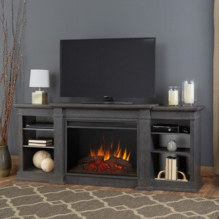 Eliot Antique Grey Grand Electric Fireplace by Real Flame