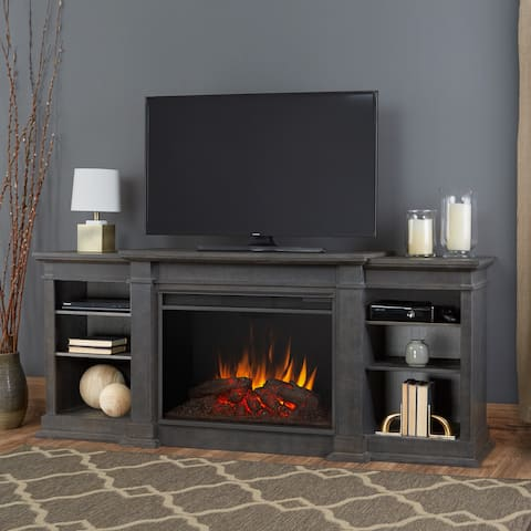 Eliot Grand Media Electric Fireplace in Antique Gray - 81.125Lx19Wx34.25H