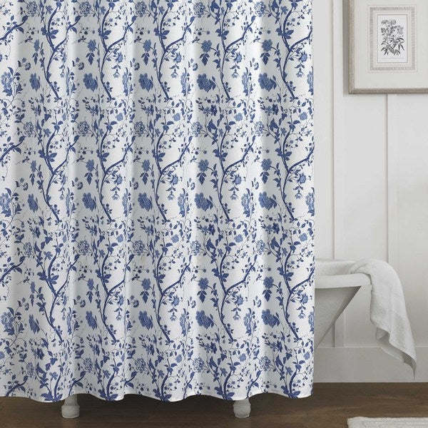 Beau Laura Ashley Charlotte Blue And White Floral Cotton Shower Curtain (72 X 72)
