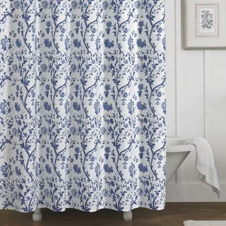Laura Ashley Charlotte Blue And White Floral Cotton Shower Curtain 72 X