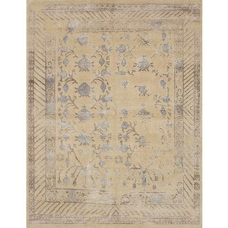 Ecarpetgallery La Seda Multi, Yellow Wool & Art Silk Rug (7'9 x 10'1)