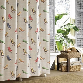 Tommy Bahama Retro Beach Chairs Print Polyester Shower Curtain
