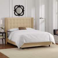 Skyline Furniture Nailhead Trim Button Tufted Buckwheat Velvet Wingback Bed