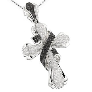 Luxurman Sterling Silver 3 1/4ct TDW Black and White Diamond Cross Pendant