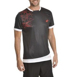 Lotto Men's White/Black Polyester Graphic Short Sleeve T-Shirt