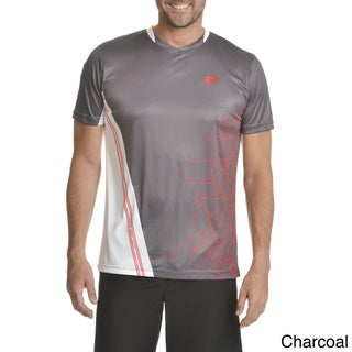 Lotto Men's Asymmetrical Colorblock with Abstract Print Polyester T-shirt