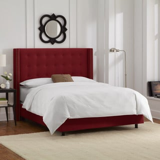 Skyline Furniture Nailhead Trim Button Tufted Berry Velvet Wingback Bed