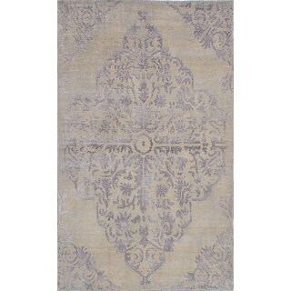 ecarpetgallery La Seda Ivory Wool and Art Silk Rug (4'9 x 7'10)