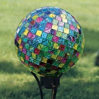 Carson Home Accents Art Glass Garden 10-inch Jeweled Hues Hand Painted Mosaic Gazing Ball
