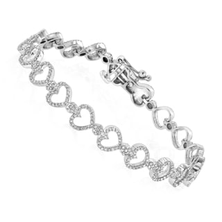 Luxurman 14k White Gold 1 5/8ct TDW Diamond Heart Bracelet (H-I, SI1-SI2)