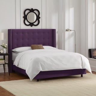 Skyline Furniture Nailhead Trim Button Tufted Purple Velvet Wingback Bed