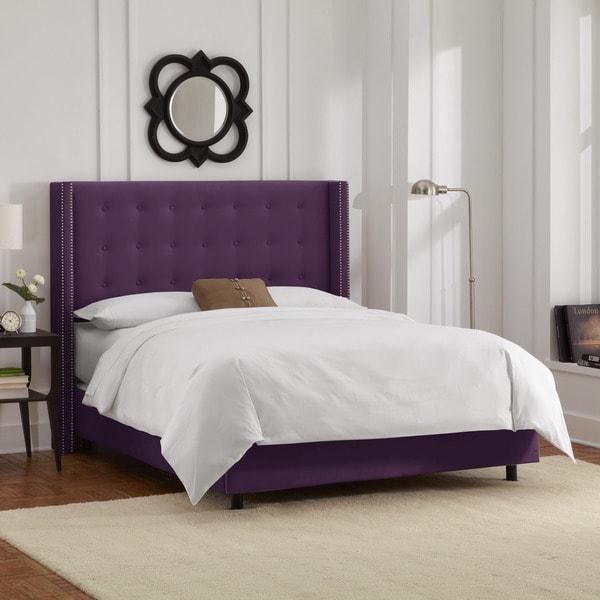 Skyline Furniture Nailhead Trim Button Tufted Purple Velvet Wingback Bed