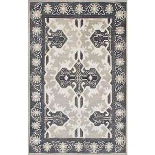 ecarpetgallery Jules Ushak Grey Wool and Art Silk Rug (5' x 8')