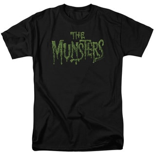 Munsters/Distress Logo Short Sleeve Adult T-Shirt 18/1 in Black